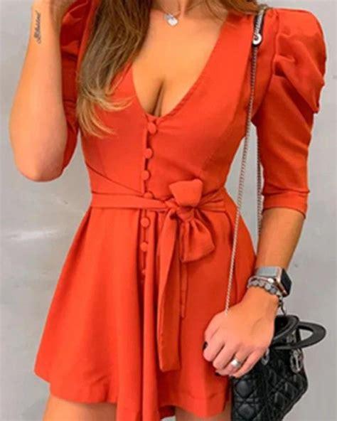 Casual Solid Color Tie Waist Mini Dress | Macacão feminino ...