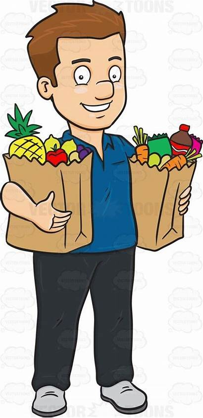 Shopping Grocery Clipart Vector Buying Cartoon Center
