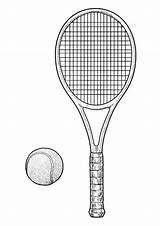 Coloring Tennis Racket Ball sketch template