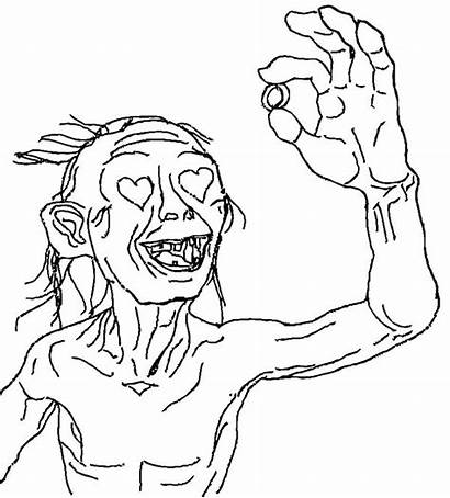 Coloring Lord Rings Gollum Hobbit Pages Gandalf