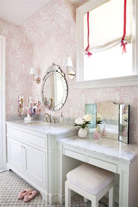 single sink vanity marble wallpaper bathrooms