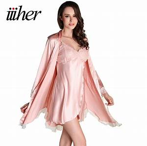 iiiher women silk satin night robe set solid kimono robe With robe replay femme