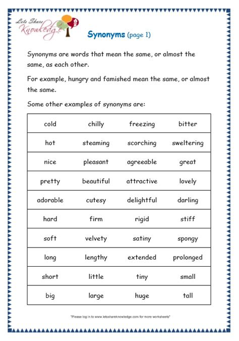 grade 3 grammar topic 27 synonyms worksheets lets share knowledge