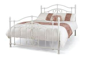 nice 5ft king size white metal bed frame