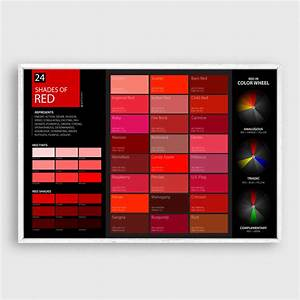 Shades of red color poster wall art graf