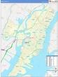 Hudson County, NJ Zip Code Wall Map Basic Style by MarketMAPS
