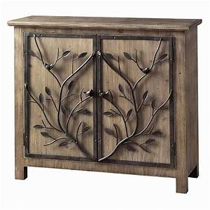 Rustic metal tree branch two door aged wood rectangular for Kitchen cabinets lowes with metal tree branch wall art
