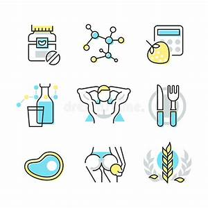 Nutrition And Health Care Icons Stock Vector ...