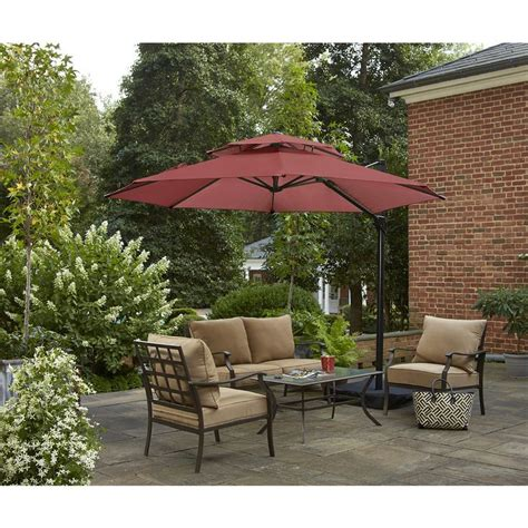 Umbrella Backyard by Shop Garden Treasures Offset Patio Umbrella With