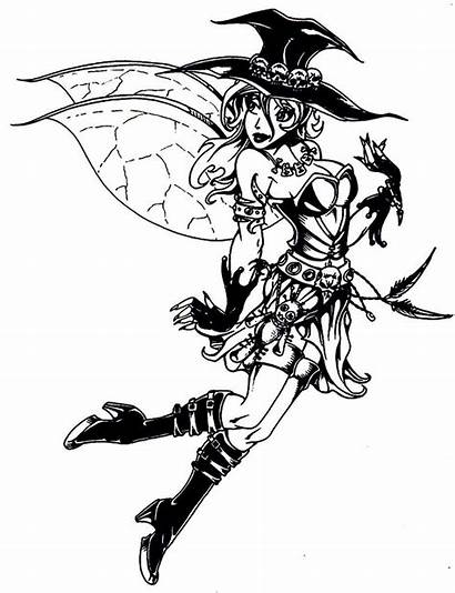 Coloring Pages Fairy Gothic Witch Adult Anime