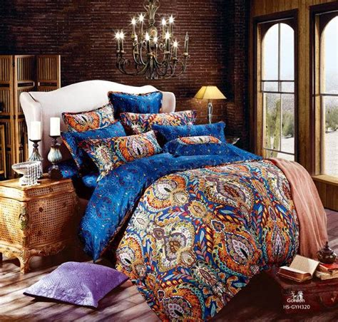 egyptian cotton blue paisley satin luxury hotel bedding comforter sets king queen size duvet