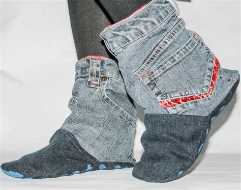 Recycled Denim Slipper Boots