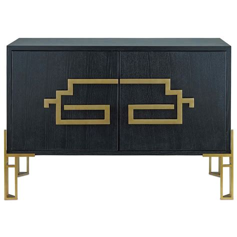 Black Wood Sideboard by Modern Classic Deco Brass Black Wood Sideboard