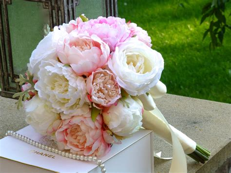 wedding bouquet peony bouquet silk bridal bouquet pink