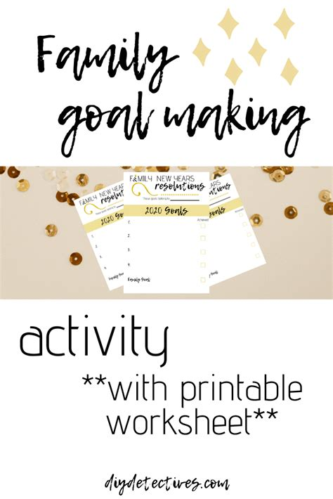 setting goals  family time  worksheet