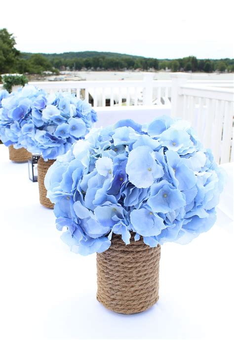nautical flower arrangements blue faux hydrangeas from afloral make stunning 1049