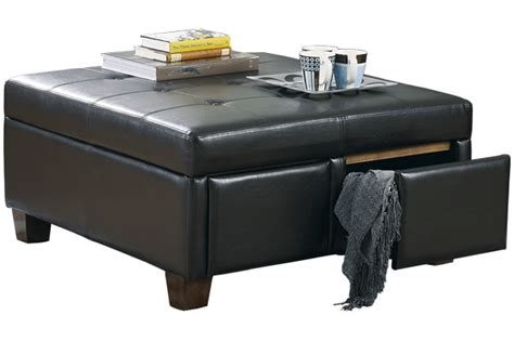 ottoman with drawers storage durahide ottoman with drawers signature design by ashley
