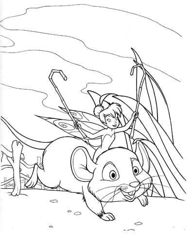 ausmalbild tinkerbell reitet auf einer maus