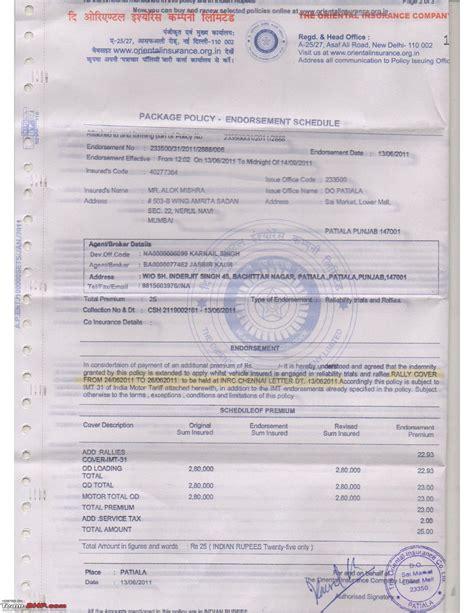 vehicle insurance policy lavasa s drive 2012 team bhp