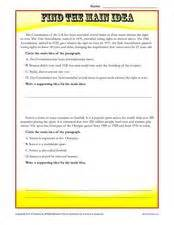 find the main idea worksheet for 6th 8th grade lesson