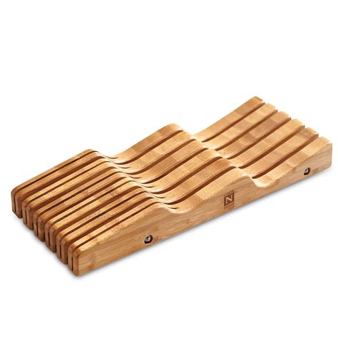 Kitchen Knife Drawer by Kitchen Bamboo Cutlery Drawer 11 Knife Block Storage