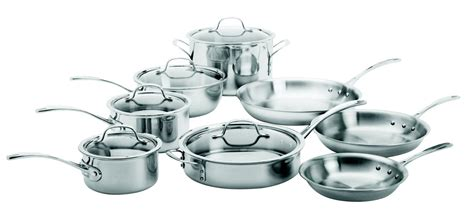 calphalon tri ply stainless steel  piece cookware set cookware set safest cookware