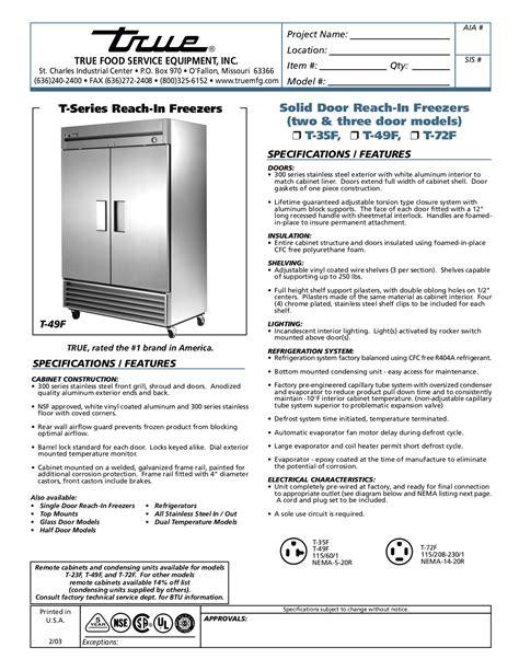 free pdf for true t 49f freezer manual
