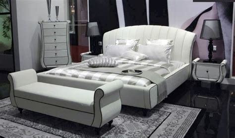 White Leather Bed Bench Modern Upholstered Benches Other
