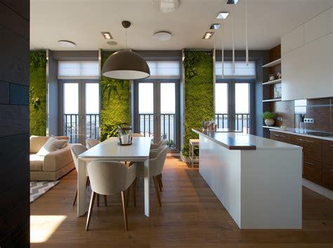 vertical garden walls add to apartment interior