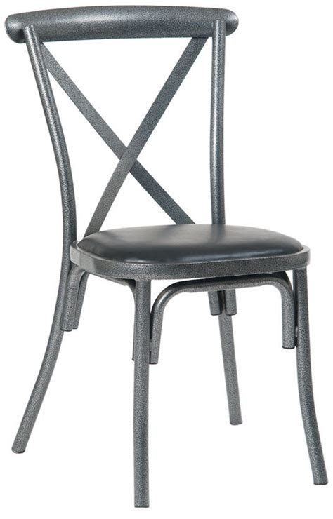 stackable metal x back chair in silver vein finish with