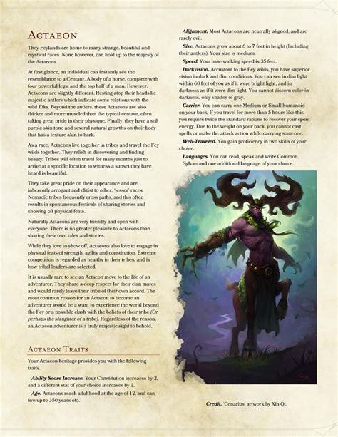 races dnd 5e homebrew classes actaeon rpg character pathfinder dragons dungeons characters monsters dragon fantasy dd concept creation subclasses tabletop