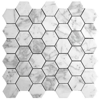 marble hexagon tile carrara bianco polished 2 quot hexagon mosaic tile