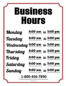 Free Printable Business Hours Sign Template