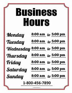 business hours sign free printable allfreeprintablecom With hours of operation template microsoft word