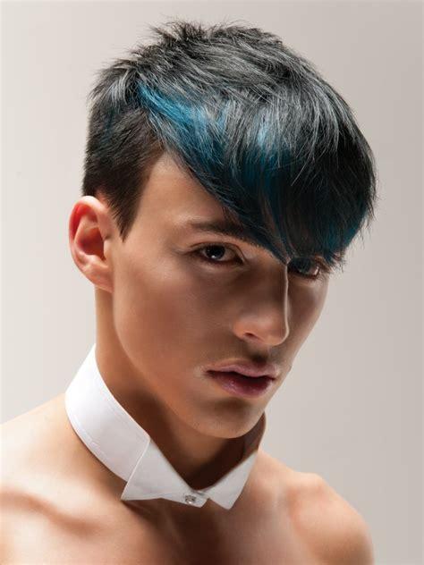 buzz cut short mens hair  longer top hair   blue