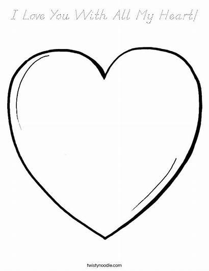 Coloring Heart Cursive Pink Usa Outline Twistynoodle