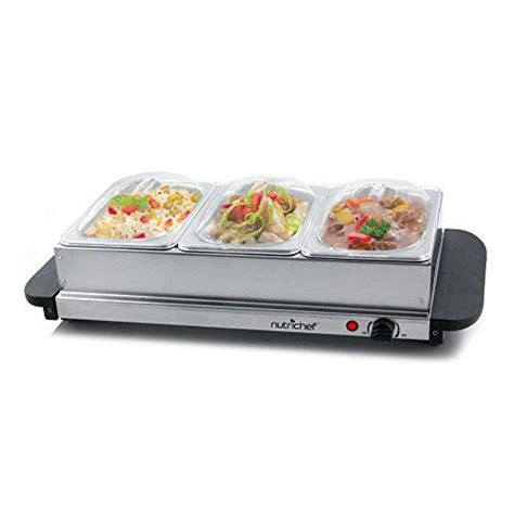 nutrichef  tray buffet server hot plate food warmer tabletop electric food warming tray