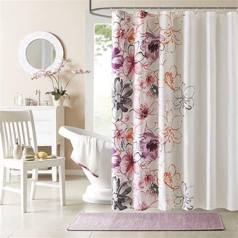Floral Shower Curtains - new pink orange plum floral shower curtain fabric modern