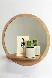 Petit Miroir Rond : miroir rond avec tablette d coration pinterest petits miroirs miroir en bois et miroir mural ~ Teatrodelosmanantiales.com Idées de Décoration
