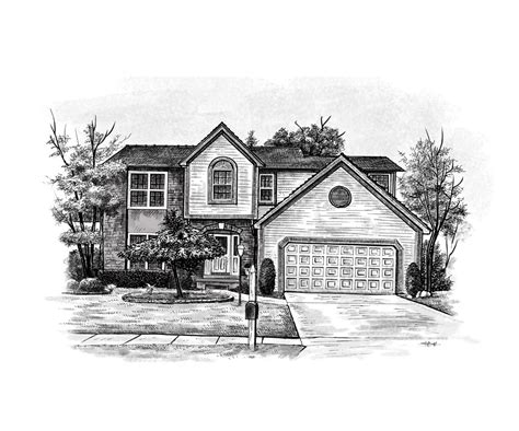 home design drawing home house portraits or painted from a photo