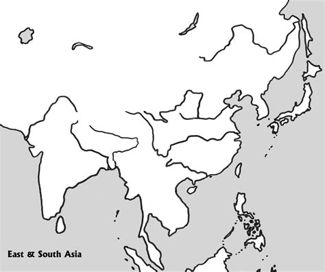 physical outline map    asia