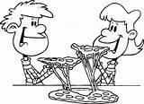 Pizza Coloring Eating Sketch Sheet Bestcoloringpagesforkids Couple Cartoon Mobile Schattige Tekeningen Drawing sketch template