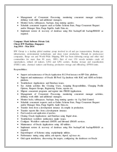 updated resume senior oracle applications dba