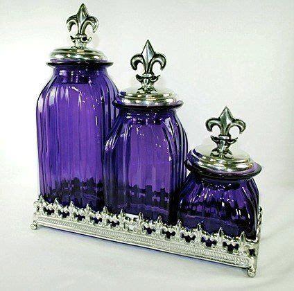amazoncom set   purple glass canisters  fleur de