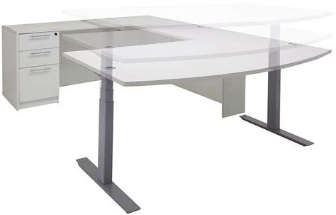 motorized adjustable height desk electric lift adjustable height white u desk w hutch