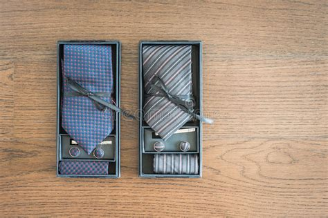 tie  cufflinks   box stock image image
