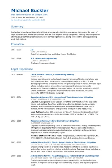 Corporate Counsel Resume Template by General Counsel Resume Sles Visualcv Resume Sles