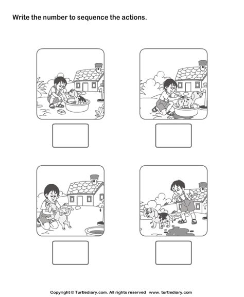 Picture Sequencing Boy Washing His Pet Worksheet  Turtle Diary