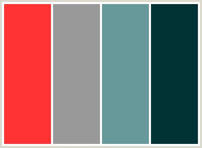 what colour scheme goes with grey colorcombo36 with hex colors ff3333 999999 669999 003333