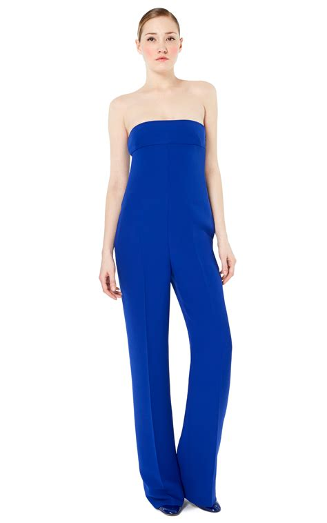 strapless jumpsuit valentino strapless jumpsuit in blue china blue lyst